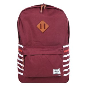 Herschel Sac à dos Heritage Offset windsor wine offset stripe/veggie tan leather [ Promotion Black Friday Soldes ]