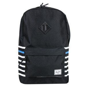 Herschel Sac à dos Heritage Offset black offset stripe/black veggie tan leather | Pas Cher Jusqu'à 20% - 80%