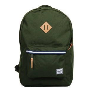 Herschel Sac à dos Heritage Offset forest green/veggie tan leather [ Promotion Black Friday Soldes ]