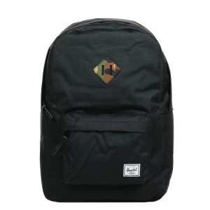Herschel Sac à dos Heritage black/woodland camo rubber [ Promotion Black Friday Soldes ]