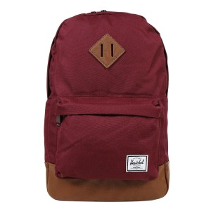 Herschel Sac à dos Heritage Mid Volume windsor wine/tan synthetic leather [ Promotion Black Friday Soldes ]