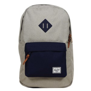 Herschel Sac à dos Heritage Mid Volume light khaki crosshatch/peacoat rubber [ Promotion Black Friday Soldes ]