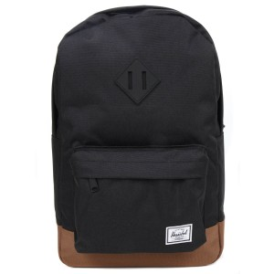 Herschel Sac à dos Heritage Mid Volume black/saddle brown [ Promotion Black Friday Soldes ]