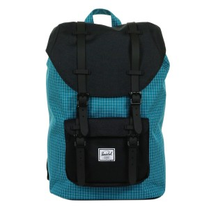 Herschel Sac à dos Little America Mid Volume ocean depths grid/black/black rubber [ Promotion Black Friday Soldes ]
