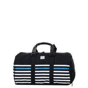 Herschel Sac de voyage Novel Offset 52 cm black offset stripe/black veggie tan leather [ Promotion Black Friday Soldes ]