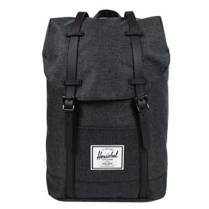 Herschel Sac à dos Retreat black crosshatch/black rubber | Pas Cher Jusqu'à 20% - 80%