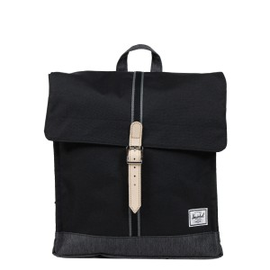 Herschel Sac à dos City Mid-Volume Offset black/black denim [ Promotion Black Friday Soldes ]