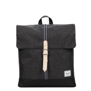 Herschel Sac à dos City Mid-Volume Offset black crosshatch/black [ Promotion Black Friday Soldes ]